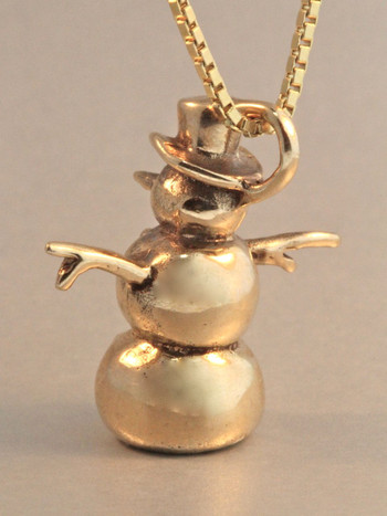 14k Solid Gold Snowman Pendant Charm Christmas Winter Holiday Charm