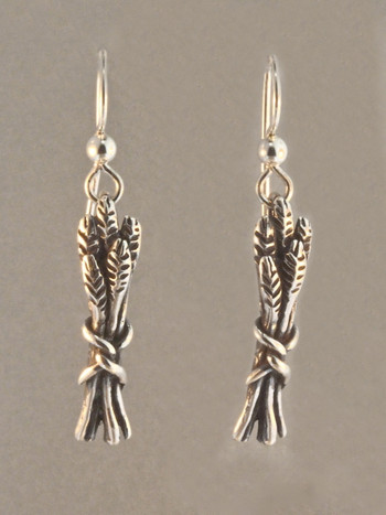 Staff Of Life Charm Earrings - Silver