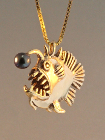 Gold Angler Fish Charm with Black Pearl - 14k Gold