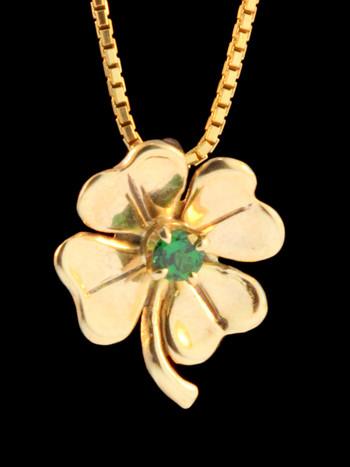 Four Leaf Clover Charm with Tsavorite -14k Gold