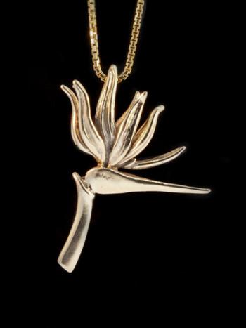 Bird of Paradise Flower Pendant - 14k Gold