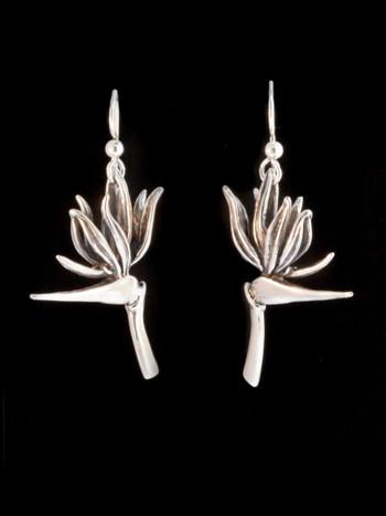 Bird of Paradise Flower Earrings - Silver