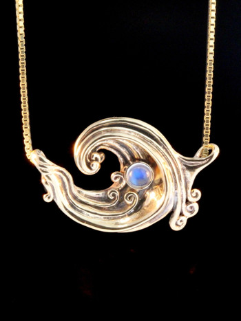 Gold Rip Curl Wave Pendant - 14k Gold, Rainbow Moonstone