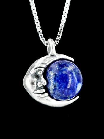 Moon Orb Pendant with Lapis Lazuli