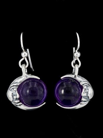 Moon Orb Earrings with Amethyst