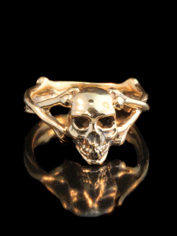 Medium Skull and Crossbones Ring - 14k Gold
