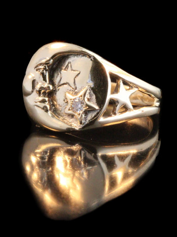 Moon and Star Ring - 14k Gold
