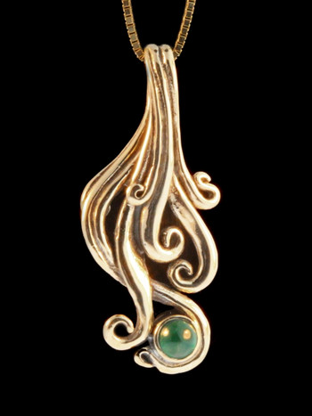 Cascade Pendant with Sandwana Emerald - 14k Gold