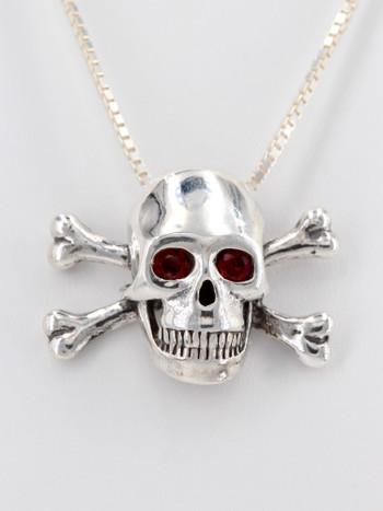 Large Skull and Crossbones Pendant Rhodolite Garnet Eyes in Silver