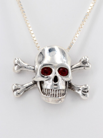 Large Skull and Crossbones Pendant Rhodolite Garnet Eyes in Silver