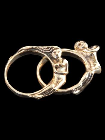 Spooning Lovers Ring - 14k Gold