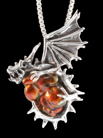 Lorgak Dragon Pendant, 17.5 ct. Arizona Fire Agate