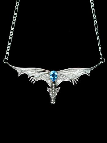 Gothic Dragon Neckpiece w/Blue Topaz
