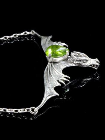Gothic Dragon Neckpiece with Peridot  - Silver
