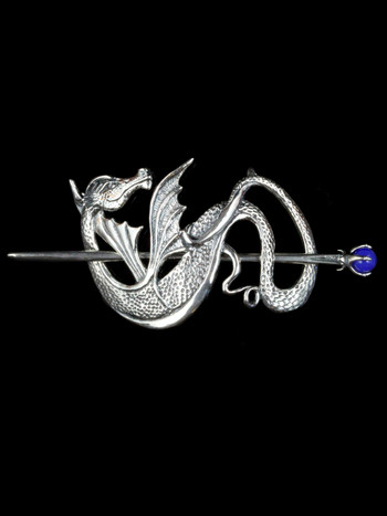 Wyvern Dragon Barrette - Sterling Silver w/ Blue Onyx