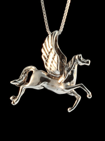 Vintage Pegasus Horse Charm - Silver