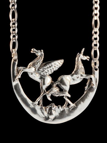 Pegasus Unicorn and Moon Pendant - Silver