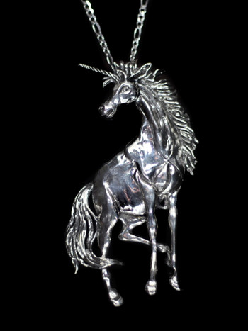 Large Unicorn Pendant - Silver