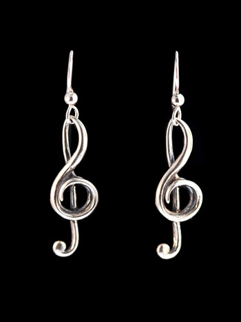 Treble Clef Earrings - Silver