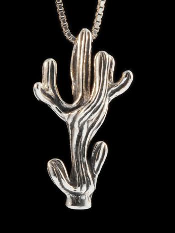 Saguaro Cactus Pendant - Silver