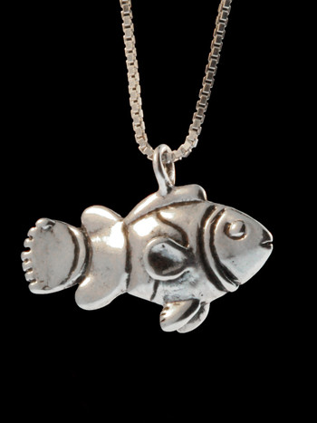 Clown Fish Charm Pendant - Silver