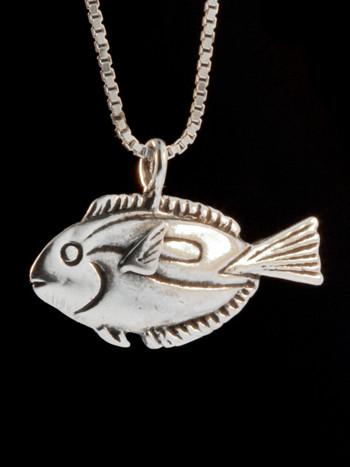Blue Tang Fish Charm Pendant - Silver
