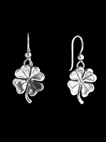 Four Leaf Clover Charm Earrings in Silver