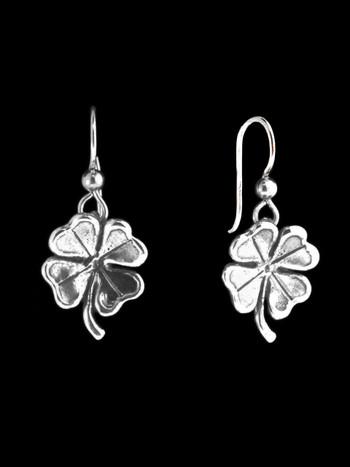 Four Leaf Clover Charm Earrings in Silver