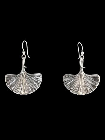 Large Ginkgo Leaf Earrings - Silver