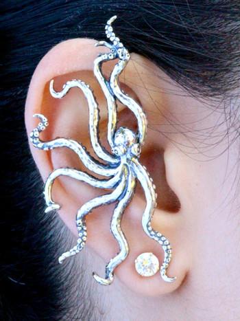 Octopus Ear Wrap in Sterling Silver