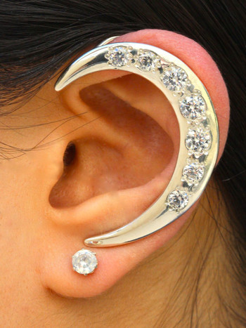 Left Crescent Ear Wrap with 7 CZ's