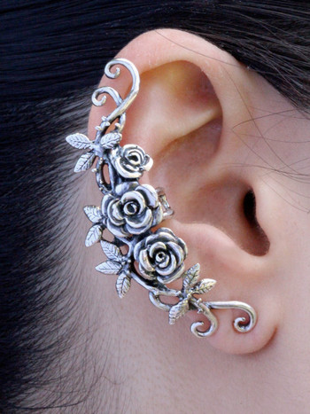 Rose Tendril Ear Cuff in Silver