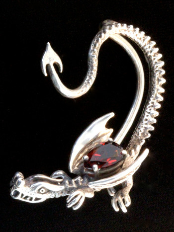 Throne Dragon Ear Wrap with Pear Shaped Gemstone - Silver