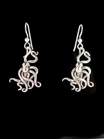 Small Octopus Earrings - Silver