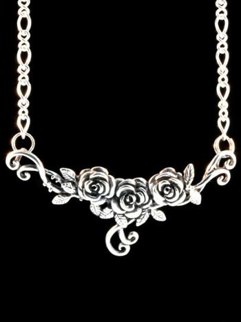 Rose Tendril Pendant - Silver