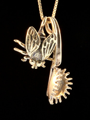 Fly and Venus Flytrap Charm Combination -14k Gold