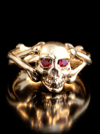 Skull and Crossbones Ring with Ruby Eyes -14k Gold