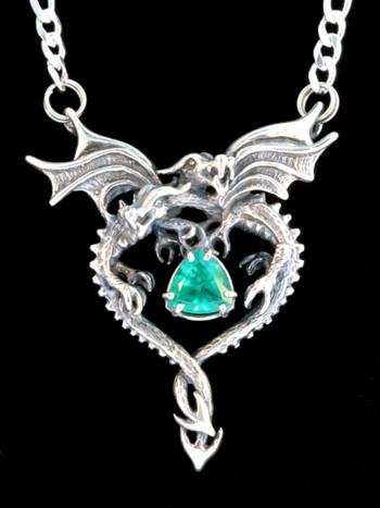 Dragon Heart Pendant with Emerald - Silver