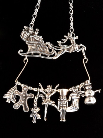 Santa and Sleigh Christmas Charm Collection - Silver