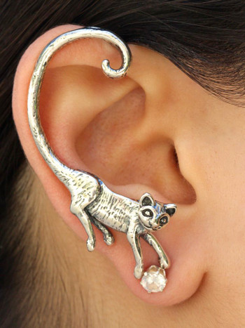 Cat's Meow Ear Wrap in Silver
