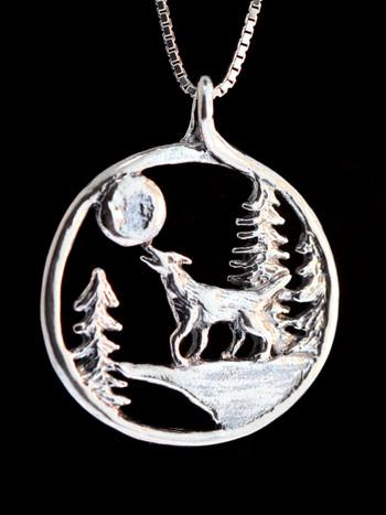Lunar Wolf Song Pendant-Silver