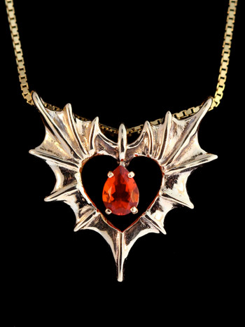 14k Gold Phantom Heart Pendant with Gemstone (Spessartite Garnet)