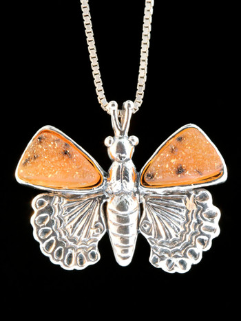 Small Jeweled Butterfly with Drusy Quartz Wings
