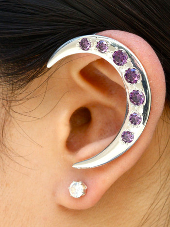 Crescent Ear Wrap with Purple CZs- Silver