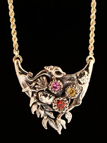 14k gold Atlantis Treasure Pendant with Gemstones