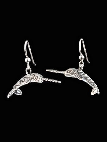 Narwhale Earrings in Silver