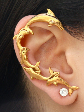 Dolphin Ear Wrap -14k gold vermeil
