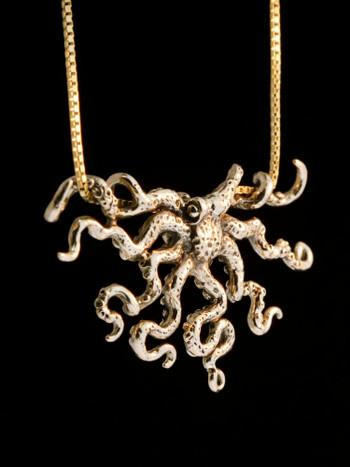 Octopus Slider Pendant - 14K Gold