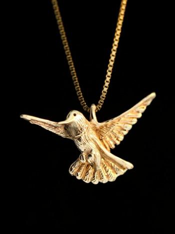 Vintage Hummingbird Charm, 14K gold