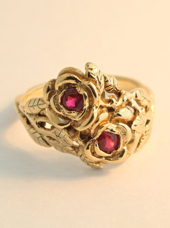Double Rose and Ruby Ring - 14K Gold